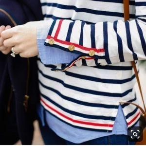 J Crew Grosgrain Ribbon Striped Shirt w/ Buttons